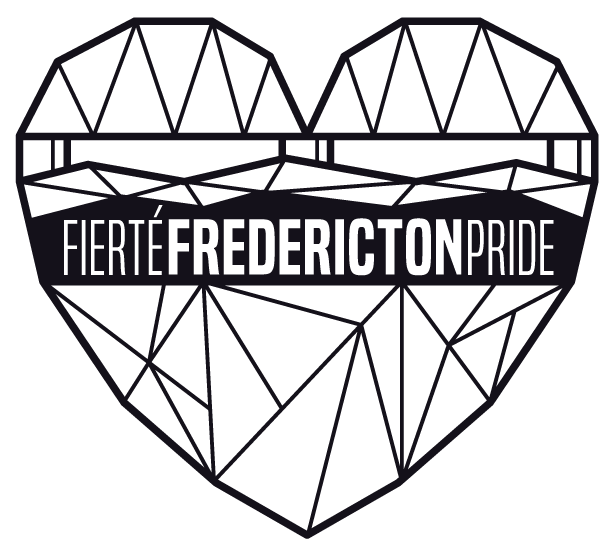 Black geometric heart shaped logo that reads Fierté Fredericton Pride in the middle. The top of the heart suggests the structure of a train bridge with water underneath. The bottom of the heart is a geometric pattern. When in colour, this portion of the logo has 18 different colours arranged from black to pink.